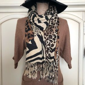 Animal Print Patch Scarf Coverup